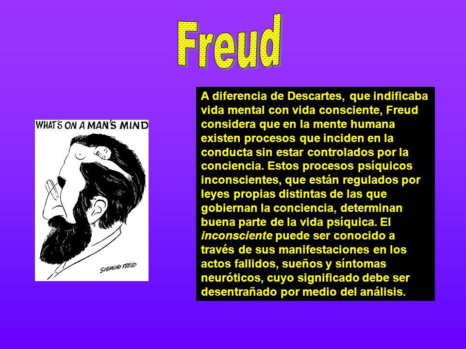 A diferencia de Descartes, que indificaba vida mental con vida consciente, Freud considera que en la mente humana existen procesos que inciden en la c
