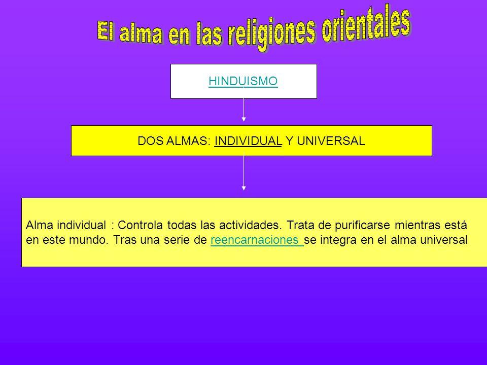 HINDUISMO DOS ALMAS: INDIVIDUAL Y UNIVERSAL Alma individual : Controla todas las actividades. Trata de purificarse mientras está en este mundo. Tras u