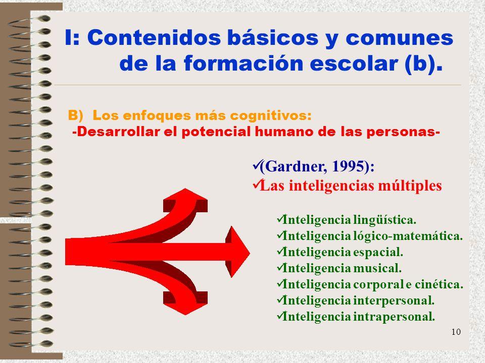 10 B) Los enfoques más cognitivos: -Desarrollar el potencial humano de las personas- (Gardner, 1995): Las inteligencias múltiples Inteligencia lingüís