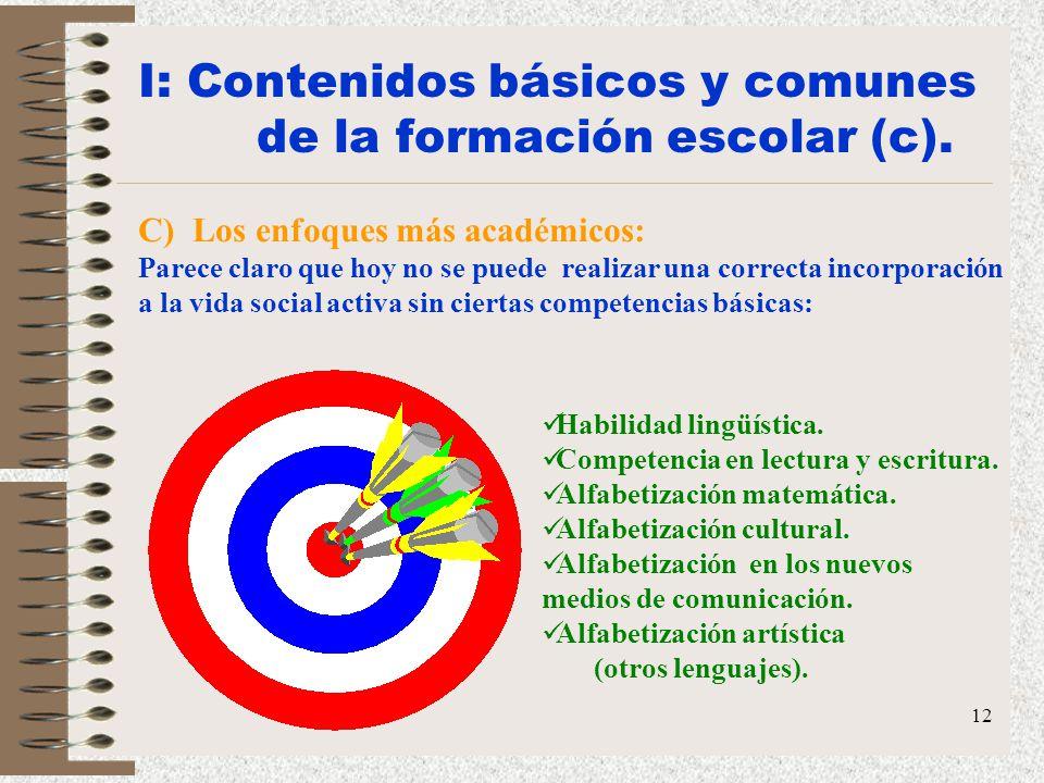 12 I: Contenidos básicos y comunes de la formación escolar (c). C) Los enfoques más académicos: Parece claro que hoy no se puede realizar una correcta