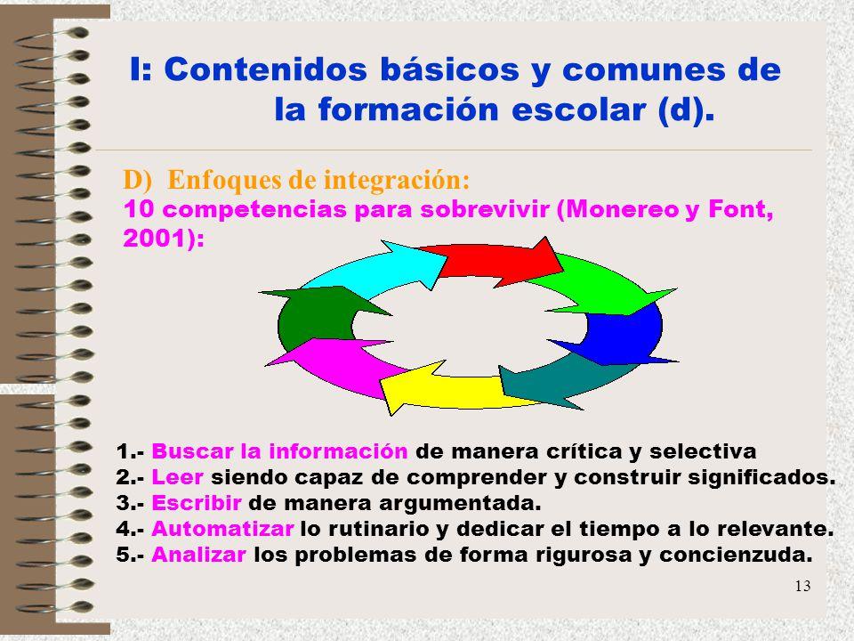 13 I: Contenidos básicos y comunes de la formación escolar (d). D) Enfoques de integración: 10 competencias para sobrevivir (Monereo y Font, 2001): 1.