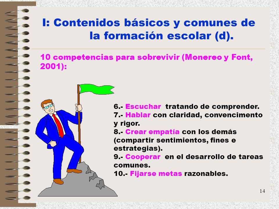 14 I: Contenidos básicos y comunes de la formación escolar (d). 10 competencias para sobrevivir (Monereo y Font, 2001): 6.- Escuchar tratando de compr