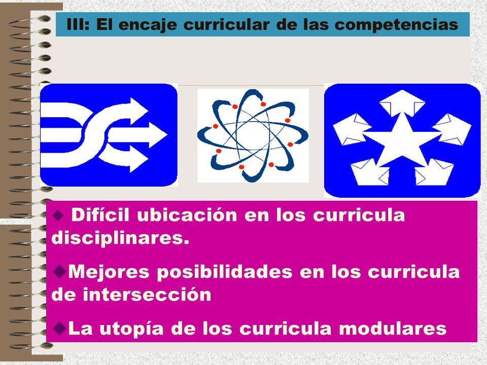 18 Difícil ubicación en los curricula disciplinares. Mejores posibilidades en los curricula de intersección La utopía de los curricula modulares III: