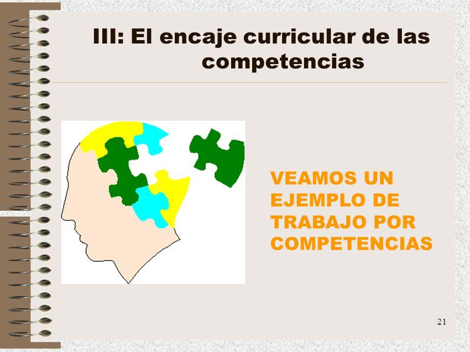 21 III: El encaje curricular de las competencias VEAMOS UN EJEMPLO DE TRABAJO POR COMPETENCIAS