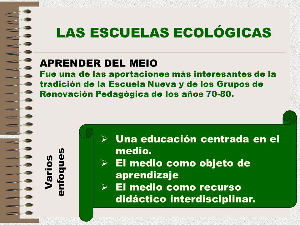 22 LAS ESCUELAS ECOLÓGICAS APRENDER DEL MEIO Fue una de las aportaciones más interesantes de la tradición de la Escuela Nueva y de los Grupos de Renov