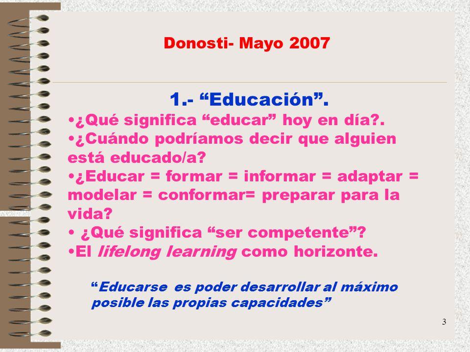 3 1.- Educación. ¿Qué significa educar hoy en día?. ¿Cuándo podríamos decir que alguien está educado/a? ¿Educar = formar = informar = adaptar = modela