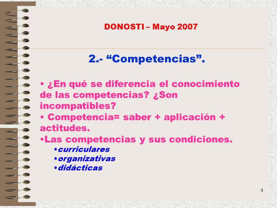 4 2.- Competencias. ¿En qué se diferencia el conocimiento de las competencias? ¿Son incompatibles? Competencia= saber + aplicación + actitudes. Las co