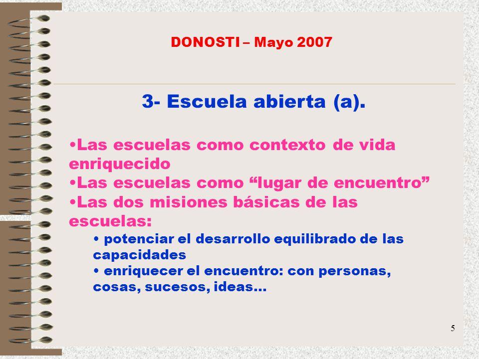 5 3- Escuela abierta (a). Las escuelas como contexto de vida enriquecido Las escuelas como lugar de encuentro Las dos misiones básicas de las escuelas