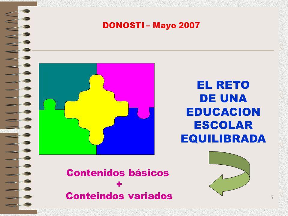 7 EL RETO DE UNA EDUCACION ESCOLAR EQUILIBRADA Contenidos básicos + Conteindos variados DONOSTI – Mayo 2007