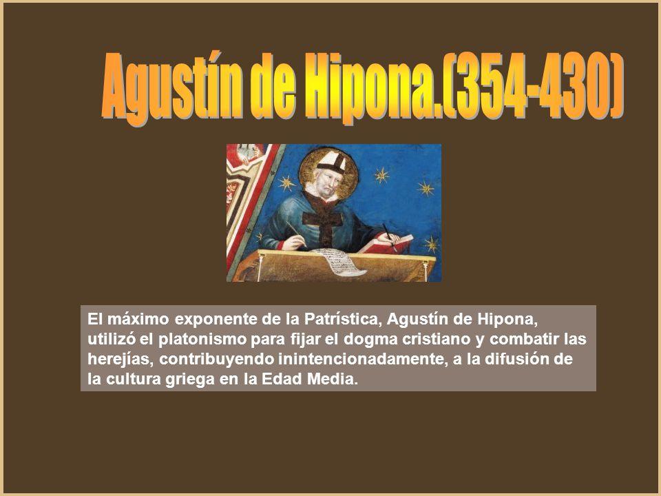 El máximo exponente de la Patrística, Agustín de Hipona, utilizó el platonismo para fijar el dogma cristiano y combatir las herejías, contribuyendo in