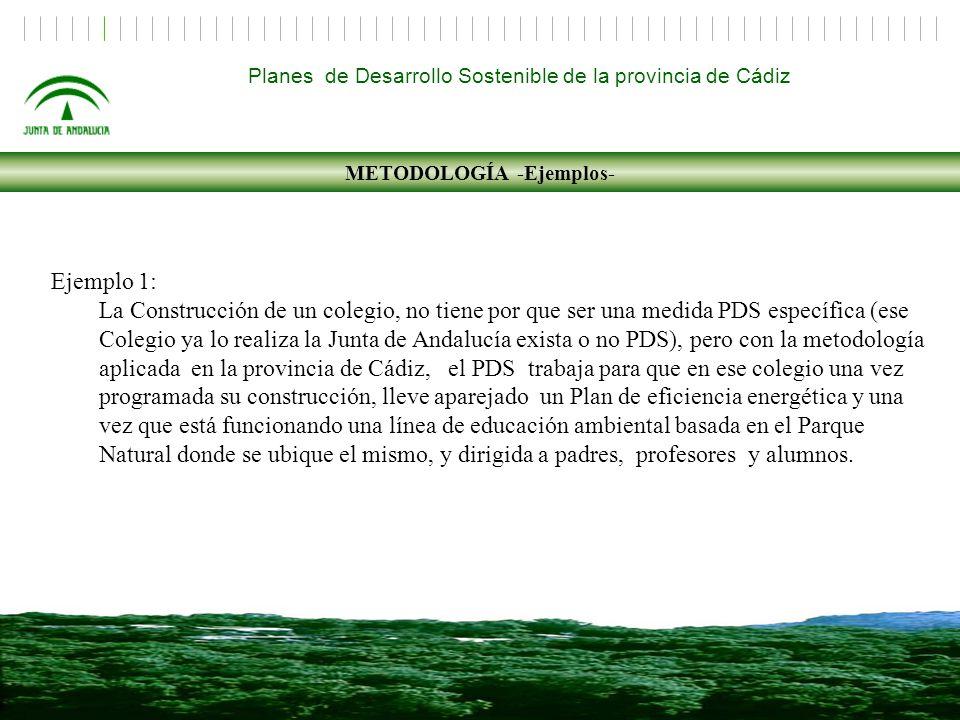 Ejemplo 1: La Construcción de un colegio, no tiene por que ser una medida PDS específica (ese Colegio ya lo realiza la Junta de Andalucía exista o no PDS), pero con la metodología aplicada en la provincia de Cádiz, el PDS trabaja para que en ese colegio una vez programada su construcción, lleve aparejado un Plan de eficiencia energética y una vez que está funcionando una línea de educación ambiental basada en el Parque Natural donde se ubique el mismo, y dirigida a padres, profesores y alumnos.