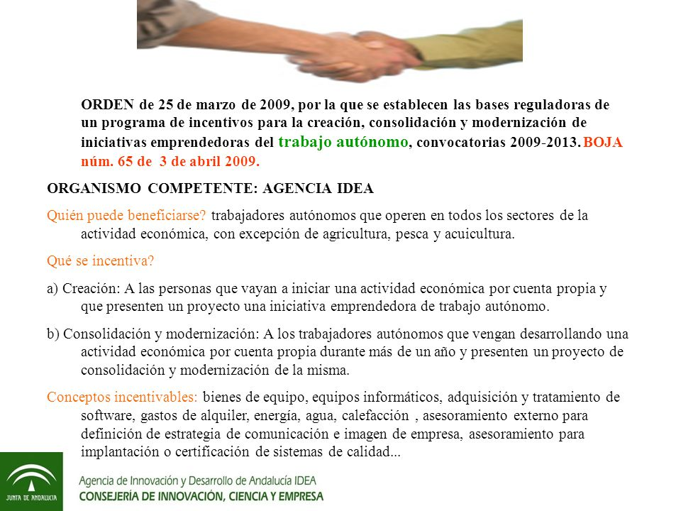 ORDEN de 25 de marzo de 2009, por la que se establecen las bases reguladoras de un programa de incentivos para la creación, consolidación y modernización de iniciativas emprendedoras del trabajo autónomo, convocatorias 2009-2013.
