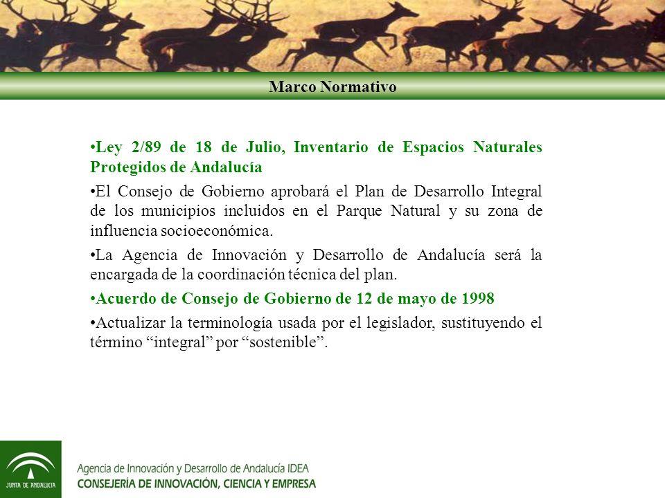 Ley 2/89 de 18 de Julio, Inventario de Espacios Naturales Protegidos de Andalucía El Consejo de Gobierno aprobará el Plan de Desarrollo Integral de los municipios incluidos en el Parque Natural y su zona de influencia socioeconómica.