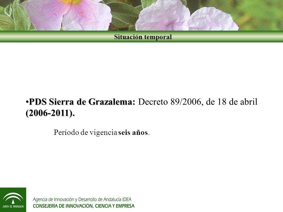 PDS Sierra de Grazalema: (2006-2011).PDS Sierra de Grazalema: Decreto 89/2006, de 18 de abril (2006-2011).