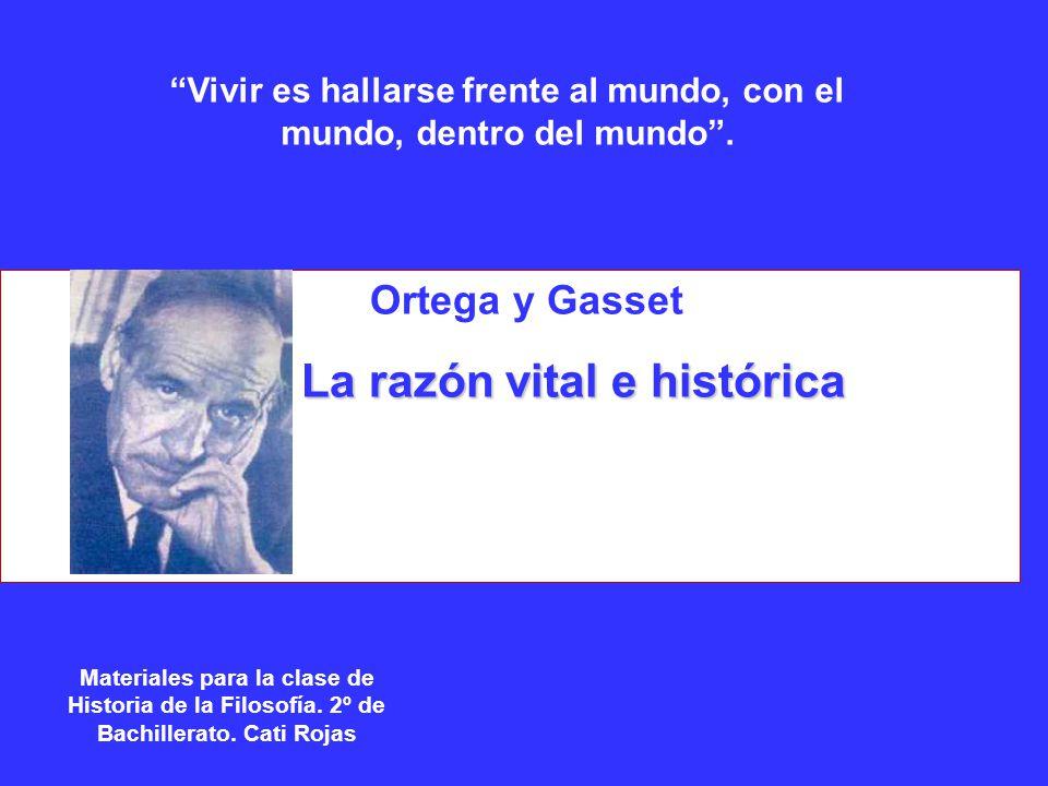 Ortega y Gasset La razón vital e histórica La razón vital e histórica Materiales para la clase de Historia de la Filosofía. 2º de Bachillerato. Cati R