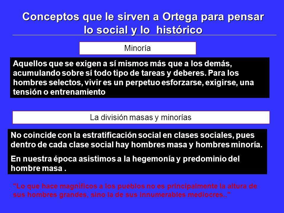 Conceptos que le sirven a Ortega para pensar lo social y lo histórico Minoría Aquellos que se exigen a sí mismos más que a los demás, acumulando sobre sí todo tipo de tareas y deberes.