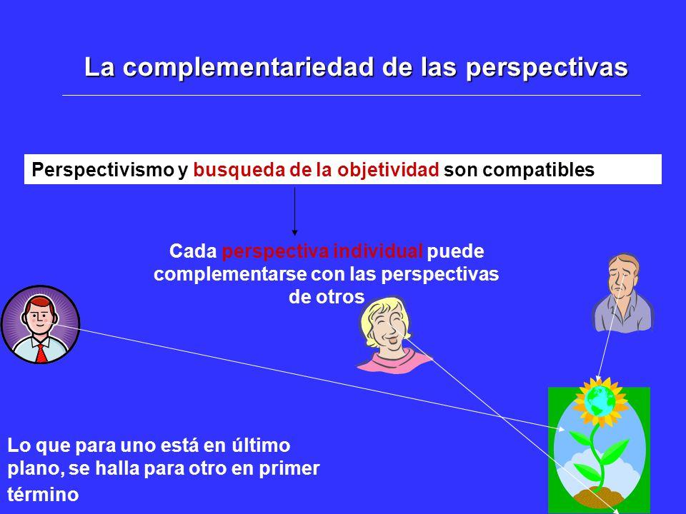 La complementariedad de las perspectivas Perspectivismo y busqueda de la objetividad son compatibles Cada perspectiva individual puede complementarse con las perspectivas de otros Lo que para uno está en último plano, se halla para otro en primer término