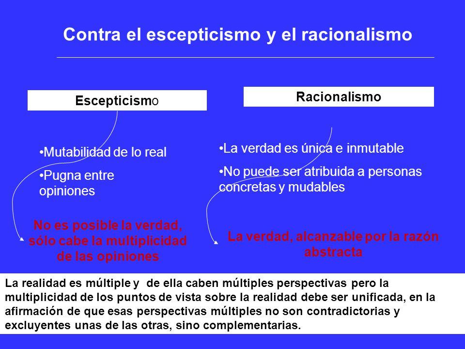 Contra el escepticismo y el racionalismo Escepticismo Racionalismo Mutabilidad de lo real Pugna entre opiniones No es posible la verdad, sólo cabe la