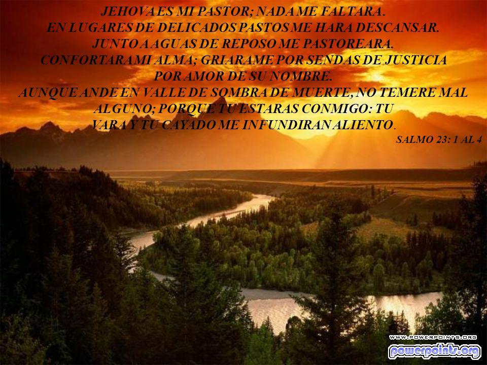 JEHOVA ES MI PASTOR; NADA ME FALTARA. EN LUGARES DE DELICADOS PASTOS ME HARA DESCANSAR. JUNTO A AGUAS DE REPOSO ME PASTOREARA. CONFORTARA MI ALMA; GRI