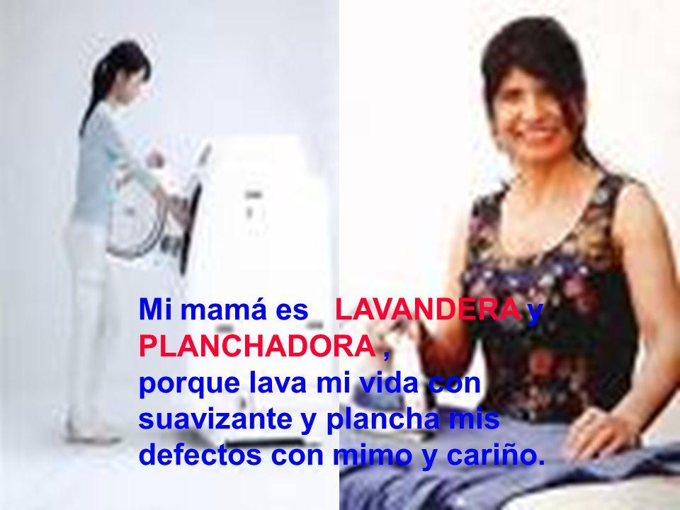 Mi mamá es LAVANDERA y PLANCHADORA, porque lava mi vida con suavizante y plancha mis defectos con mimo y cariño.