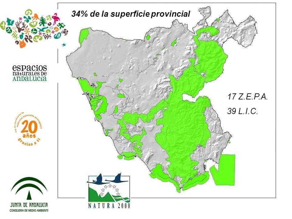 34% de la superficie provincial 17 Z.E.P.A. 39 L.I.C.