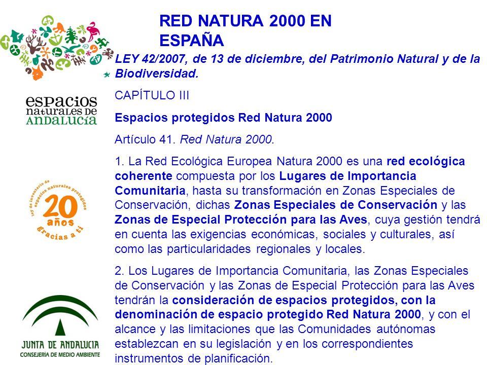RED NATURA 2000 EN ESPAÑA LEY 42/2007, de 13 de diciembre, del Patrimonio Natural y de la Biodiversidad. CAPÍTULO III Espacios protegidos Red Natura 2