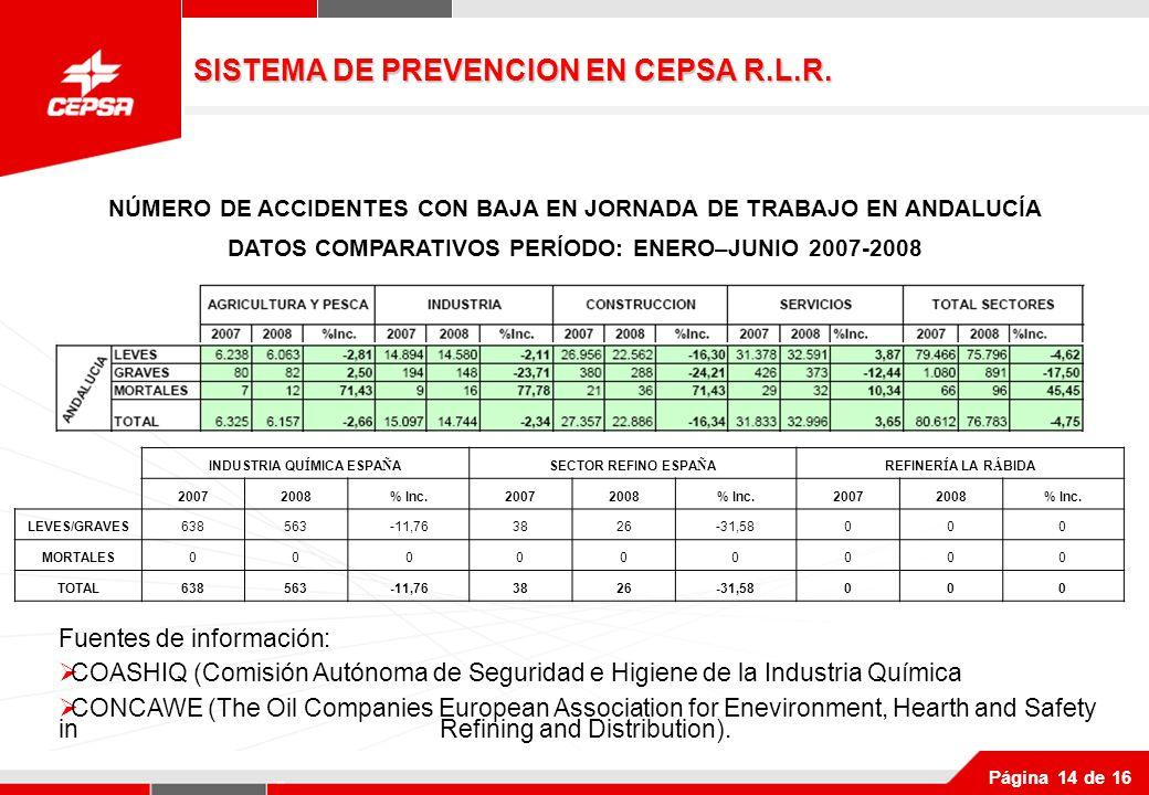 Página 14 de 16 INDUSTRIA QU Í MICA ESPA Ñ ASECTOR REFINO ESPA Ñ AREFINER Í A LA R Á BIDA 20072008% Inc.20072008% Inc.20072008% Inc.