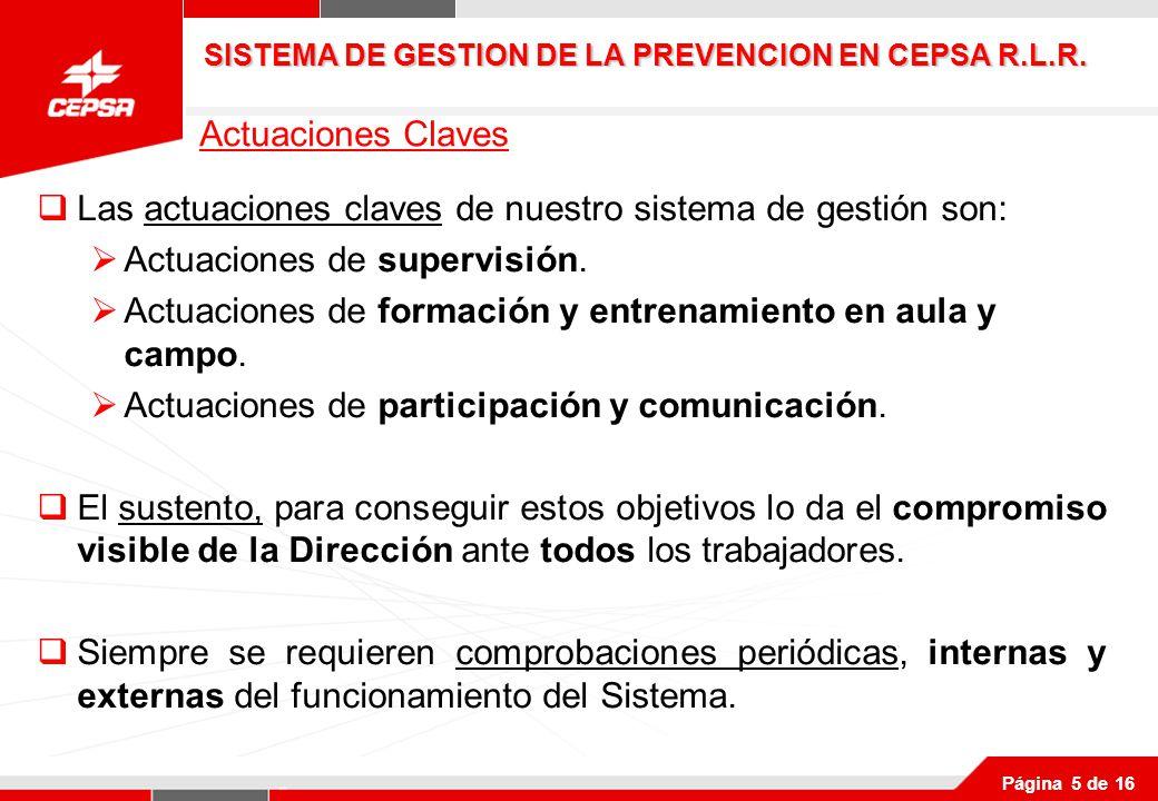 Página 5 de 16 Las actuaciones claves de nuestro sistema de gestión son: Actuaciones de supervisión.