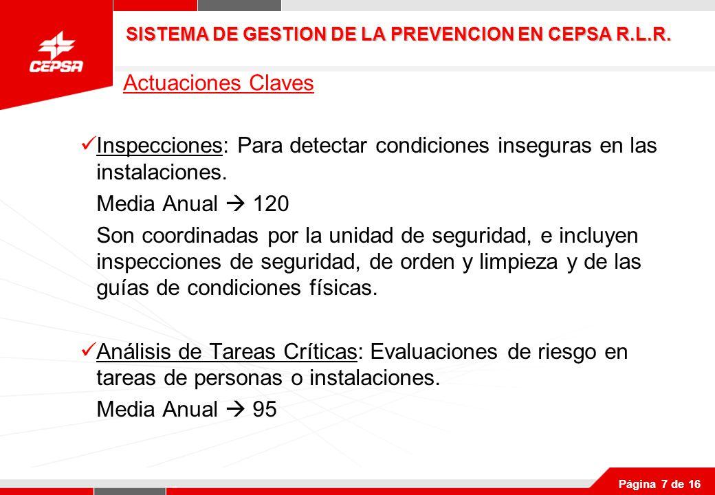 Página 7 de 16 Inspecciones: Para detectar condiciones inseguras en las instalaciones.