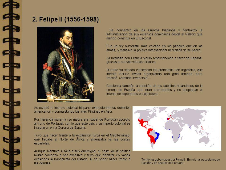 Se concentró en los asuntos hispanos y centralizó la administración de sus extensos domininios desde el Palacio que mandó construir en El Escorial. Fu