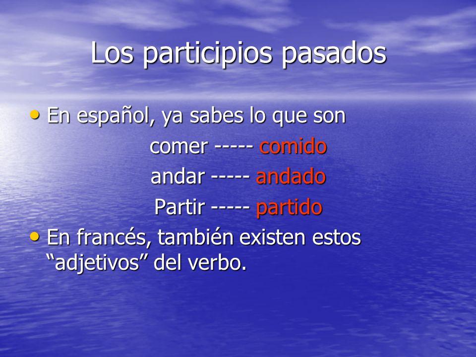 Los participios pasados En español, ya sabes lo que son En español, ya sabes lo que son comer ----- comido andar ----- andado Partir ----- partido En