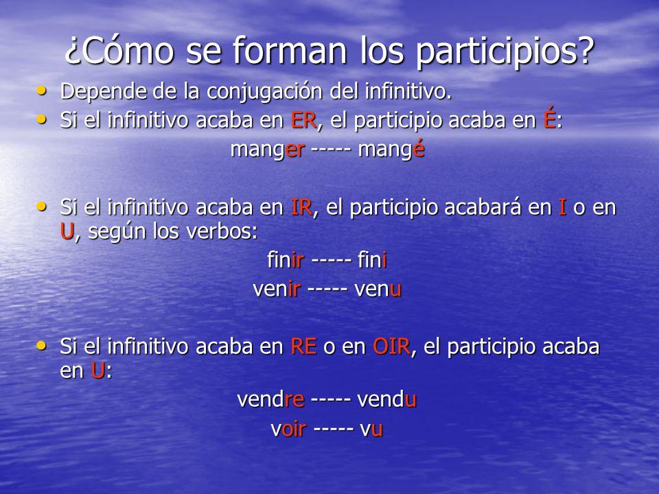 ¿Cómo se forman los participios? Depende de la conjugación del infinitivo. Depende de la conjugación del infinitivo. Si el infinitivo acaba en ER, el