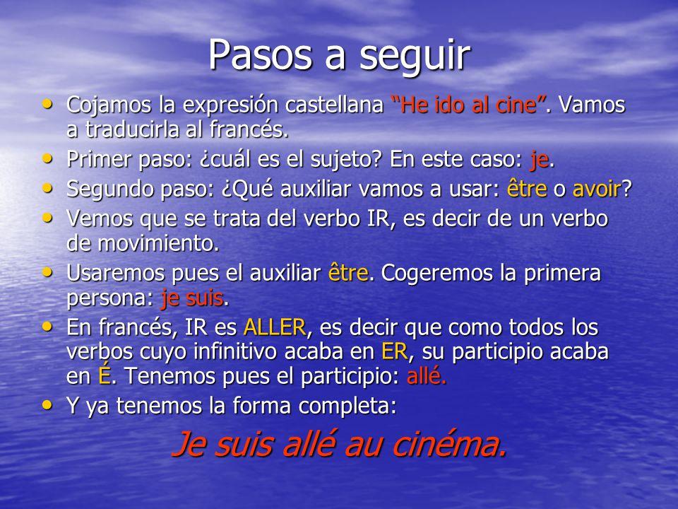 Pasos a seguir Cojamos la expresión castellana He ido al cine. Vamos a traducirla al francés. Cojamos la expresión castellana He ido al cine. Vamos a