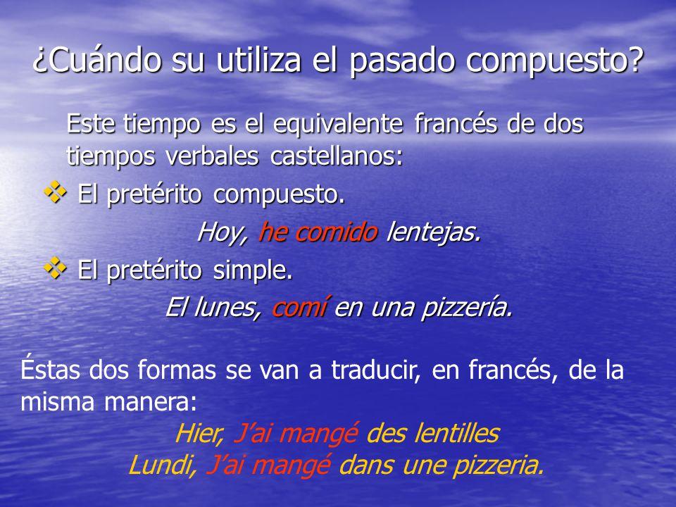 ¿Cuándo su utiliza el pasado compuesto? Este tiempo es el equivalente francés de dos tiempos verbales castellanos: El pretérito compuesto. El pretérit