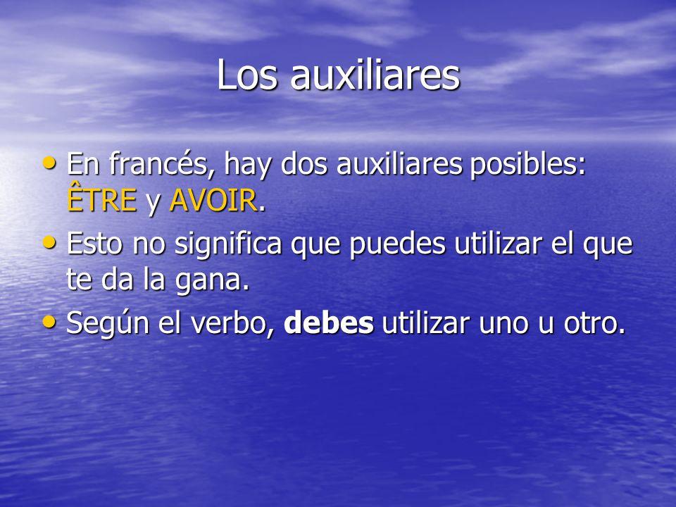 Los auxiliares En francés, hay dos auxiliares posibles: ÊTRE y AVOIR. En francés, hay dos auxiliares posibles: ÊTRE y AVOIR. Esto no significa que pue