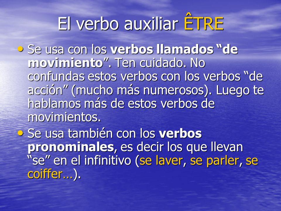 El verbo auxiliar ÊTRE Se usa con los verbos llamados de movimiento. Ten cuidado. No confundas estos verbos con los verbos de acción (mucho más numero