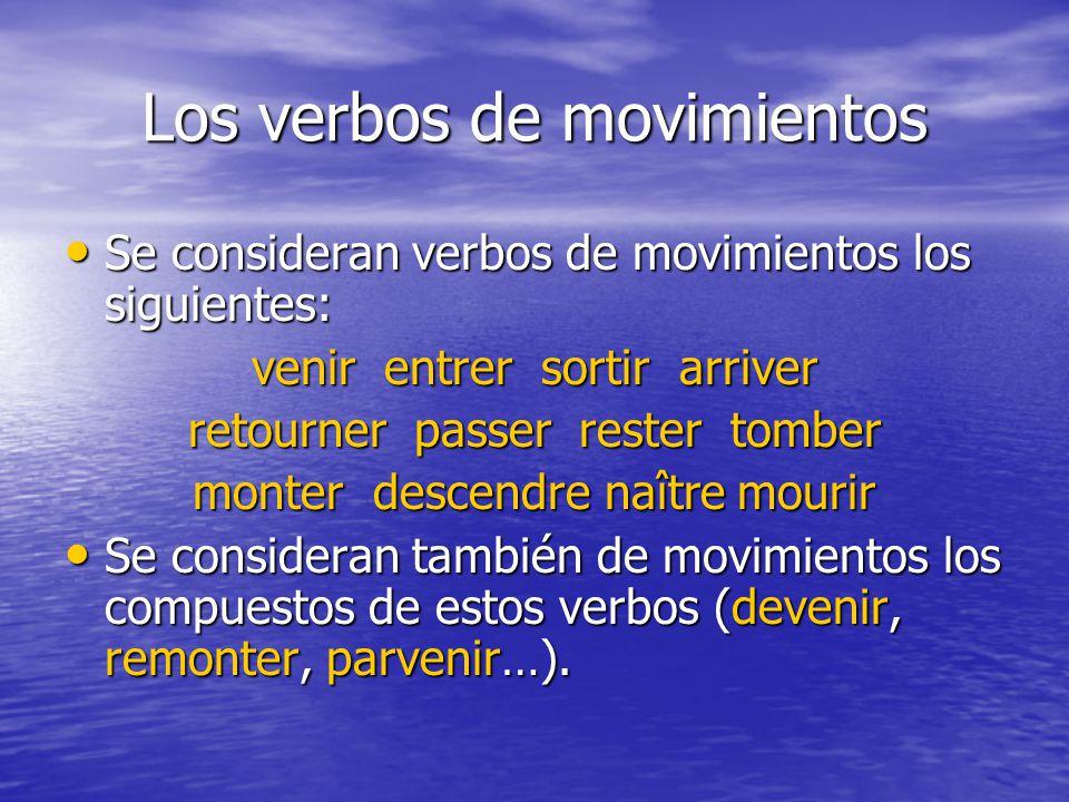 Los verbos de movimientos Se consideran verbos de movimientos los siguientes: Se consideran verbos de movimientos los siguientes: venir entrer sortir