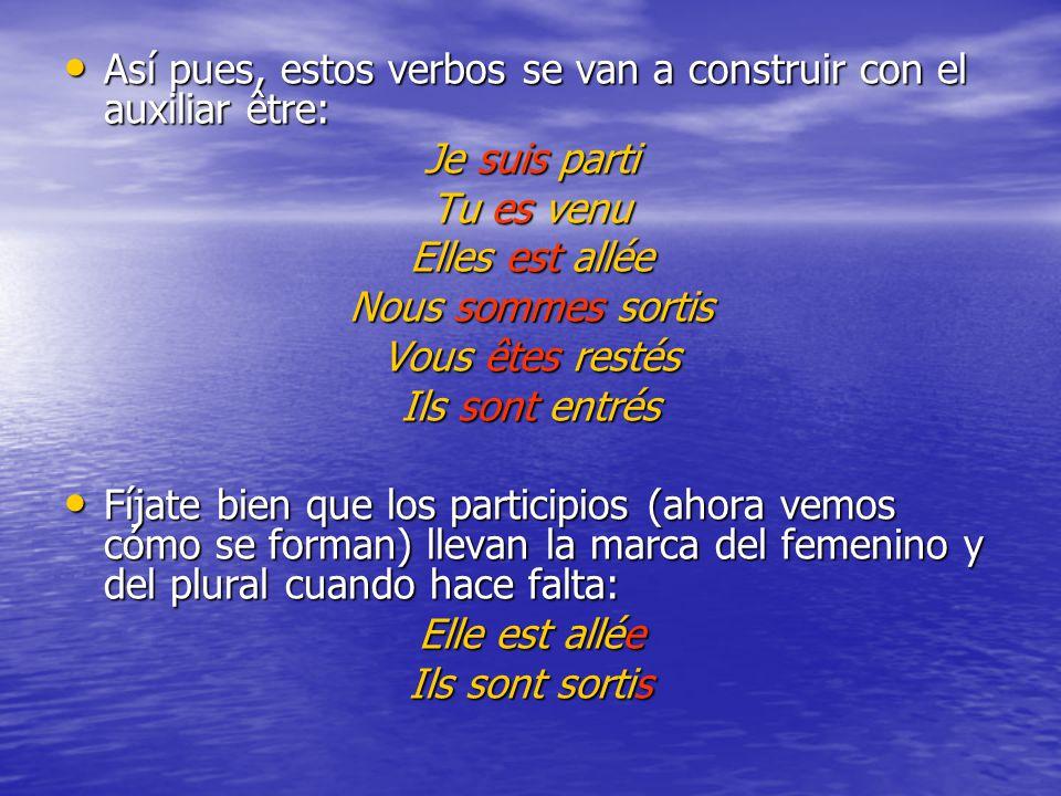 Así pues, estos verbos se van a construir con el auxiliar être: Así pues, estos verbos se van a construir con el auxiliar être: Je suis parti Tu es ve