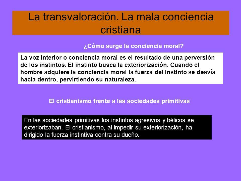 La transvaloración. La mala conciencia cristiana La voz interior o conciencia moral es el resultado de una perversión de los instintos. El instinto bu