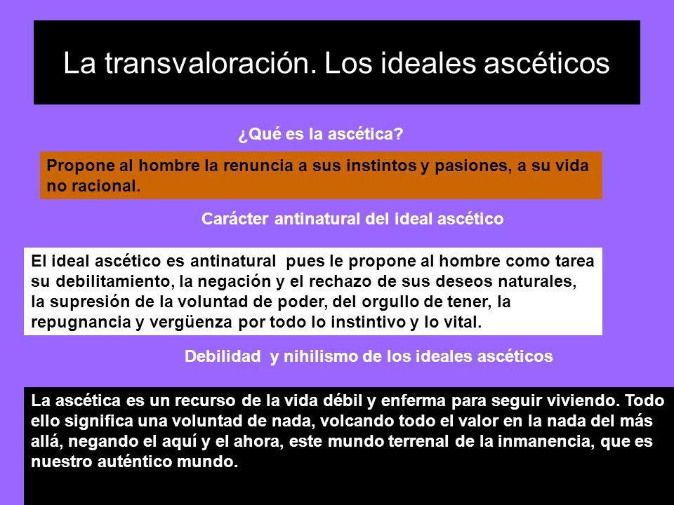 La transvaloración. Los ideales ascéticos Propone al hombre la renuncia a sus instintos y pasiones, a su vida no racional. ¿Qué es la ascética? El ide