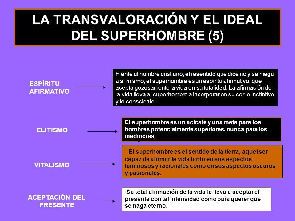 LA TRANSVALORACIÓN Y EL IDEAL DEL SUPERHOMBRE (5) El superhombre es un acicate y una meta para los hombres potencialmente superiores, nunca para los m