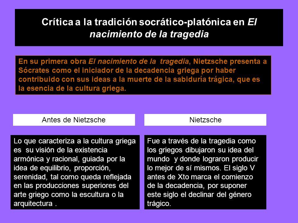 Crítica a la tradición socrático-platónica en El nacimiento de la tragedia En su primera obra El nacimiento de la tragedia, Nietzsche presenta a Sócra