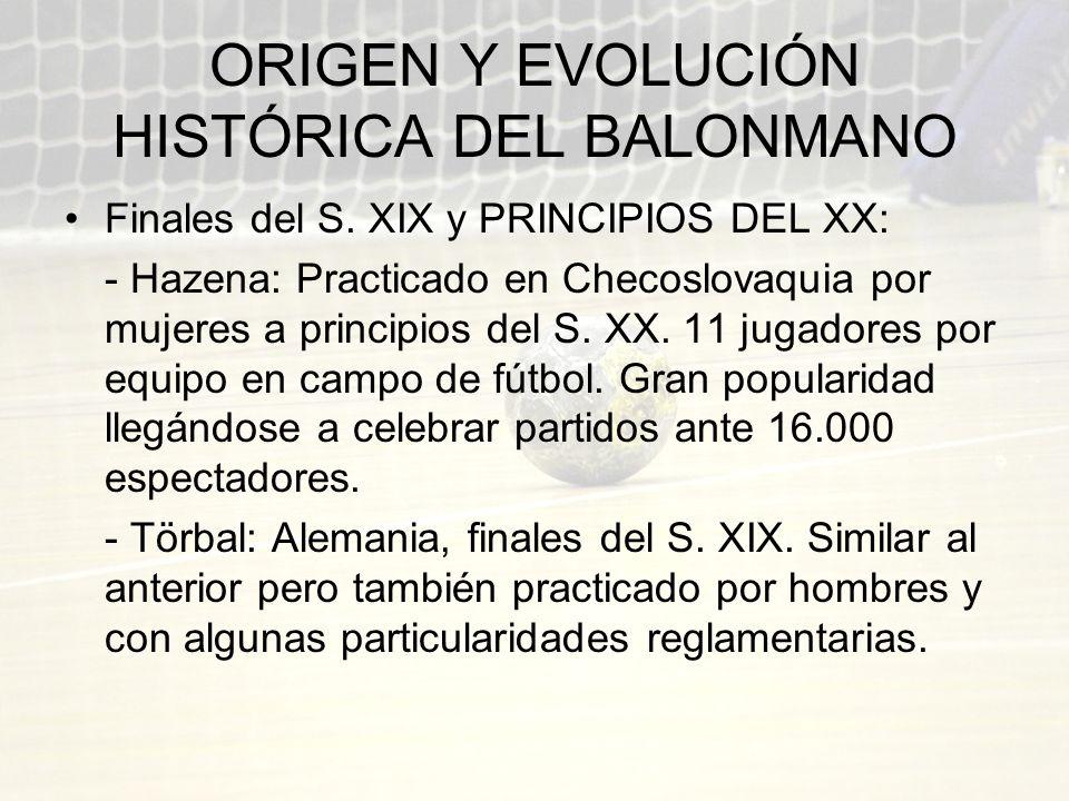 ORIGEN Y EVOLUCIÓN HISTÓRICA DEL BALONMANO Finales del S. XIX y PRINCIPIOS DEL XX: - Hazena: Practicado en Checoslovaquia por mujeres a principios del