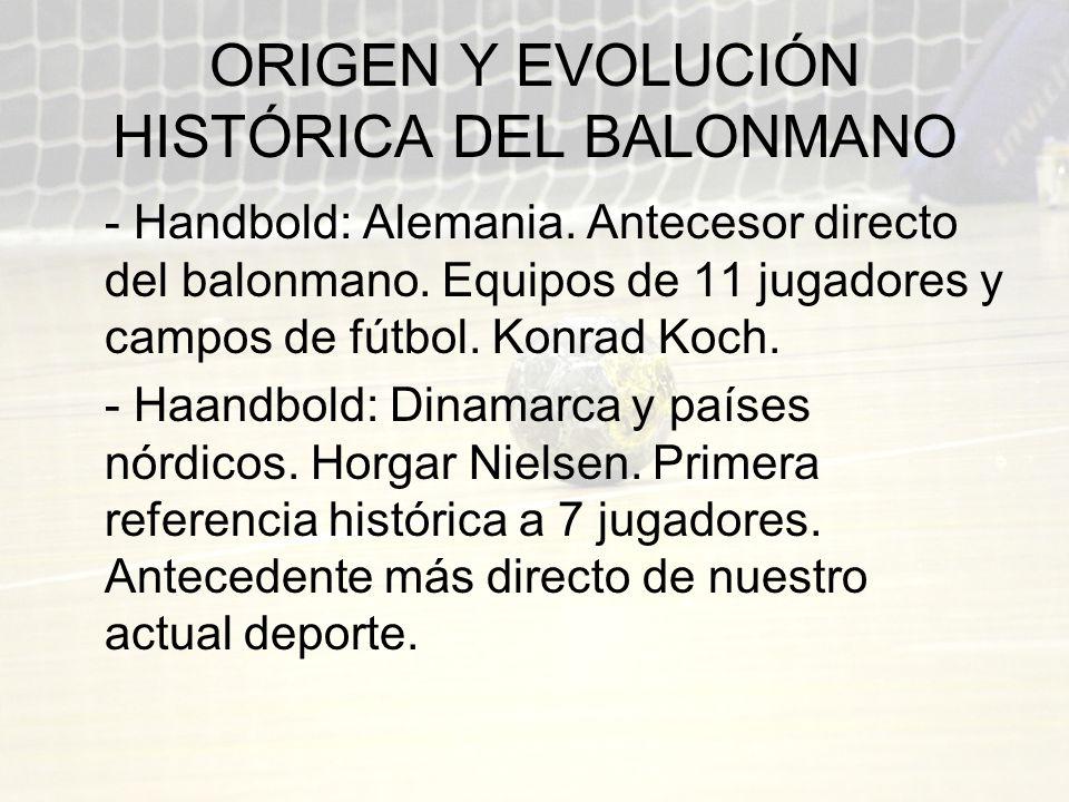 ORIGEN Y EVOLUCIÓN HISTÓRICA DEL BALONMANO - Handbold: Alemania. Antecesor directo del balonmano. Equipos de 11 jugadores y campos de fútbol. Konrad K