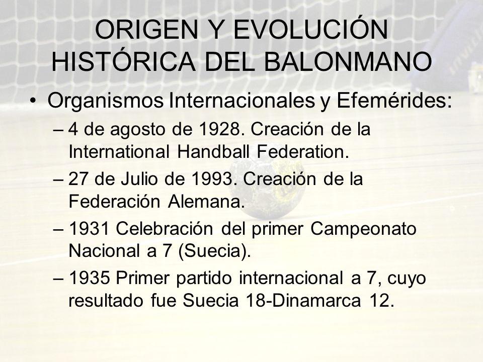 ORIGEN Y EVOLUCIÓN HISTÓRICA DEL BALONMANO Organismos Internacionales y Efemérides: –4 de agosto de 1928. Creación de la International Handball Federa