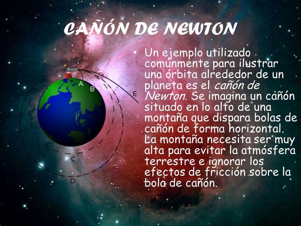 CAÑÓN DE NEWTON Un ejemplo utilizado comúnmente para ilustrar una órbita alrededor de un planeta es el cañón de Newton.