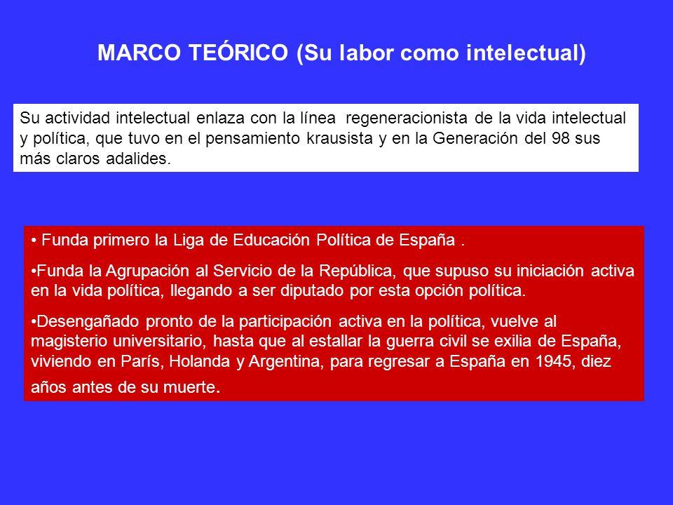 MARCO TEÓRICO (Su labor como intelectual) Su actividad intelectual enlaza con la línea regeneracionista de la vida intelectual y política, que tuvo en el pensamiento krausista y en la Generación del 98 sus más claros adalides.