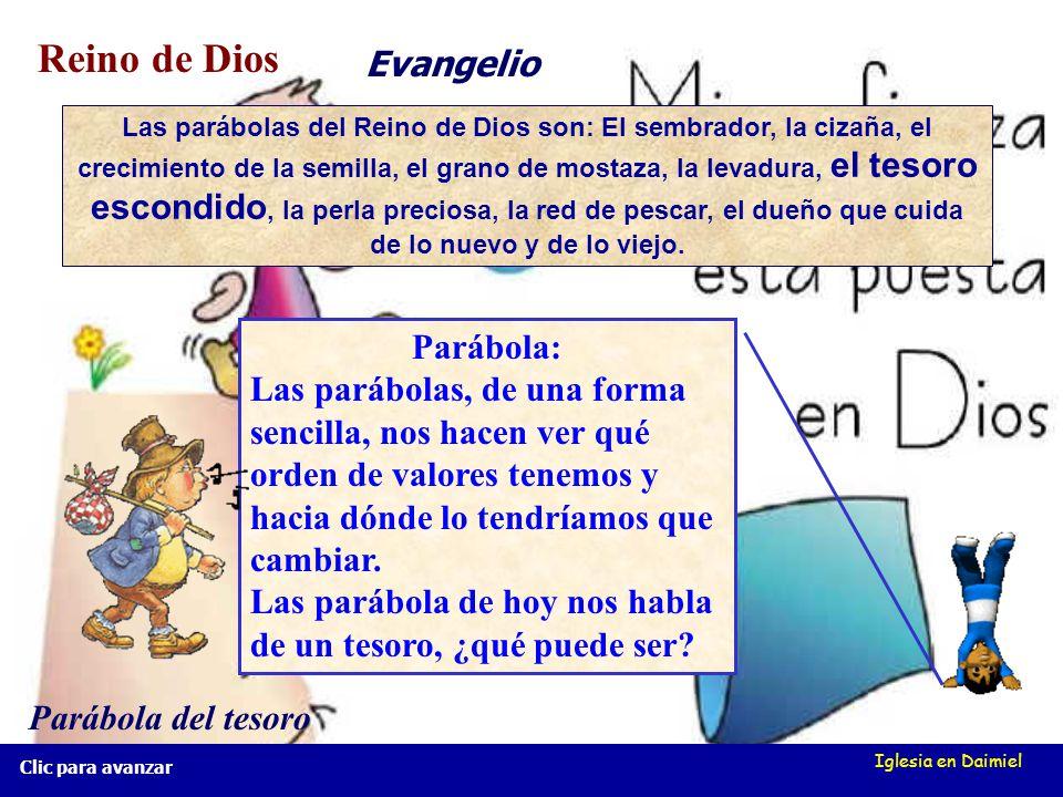 Iglesia en Daimiel Clic para avanzar Parábola: Las parábolas, de una forma sencilla, nos hacen ver qué orden de valores tenemos y hacia dónde lo tendríamos que cambiar.