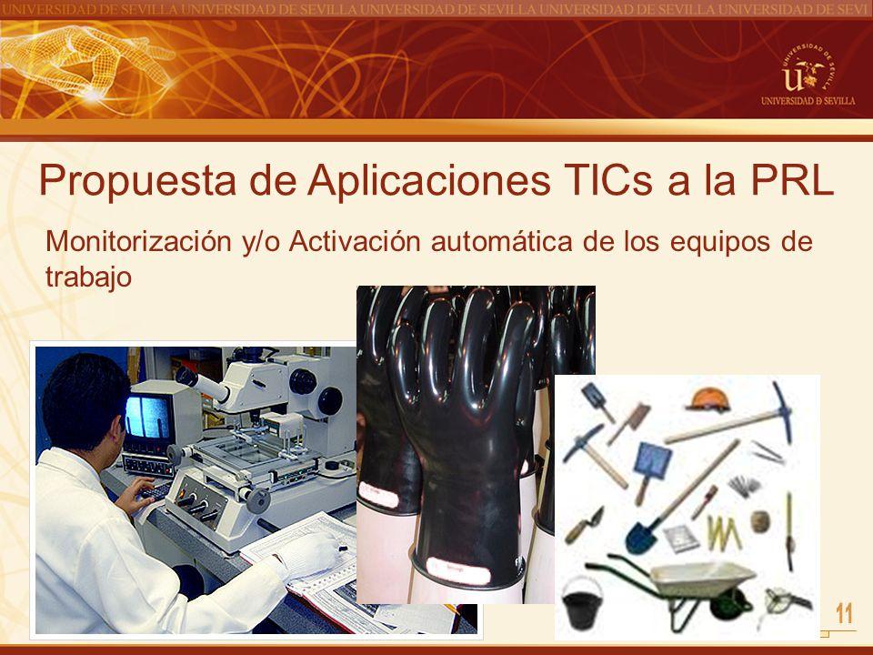 Propuesta de Aplicaciones TICs a la PRL Monitorización y/o Activación automática de los equipos de trabajo