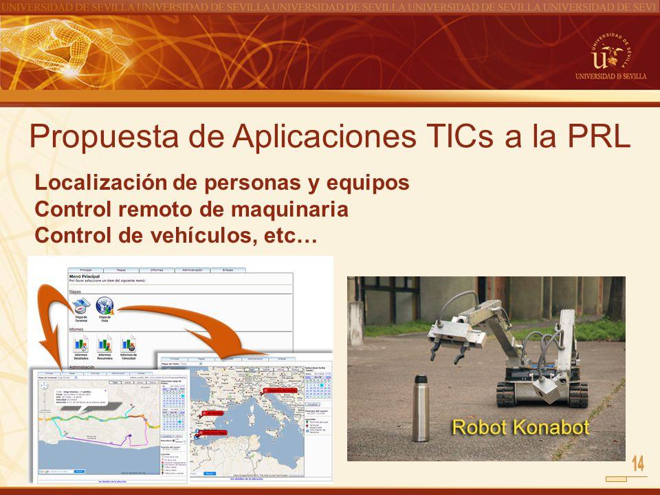 Propuesta de Aplicaciones TICs a la PRL Localización de personas y equipos Control remoto de maquinaria Control de vehículos, etc…